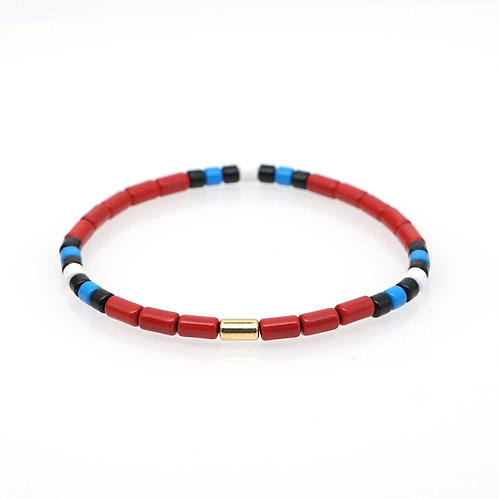 Red with white blue and black Enamel Stretch Bracelet