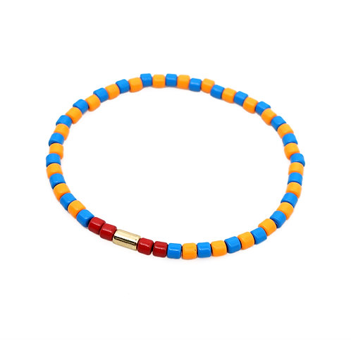 Blue and Orange Enamel Stretch Bracelet