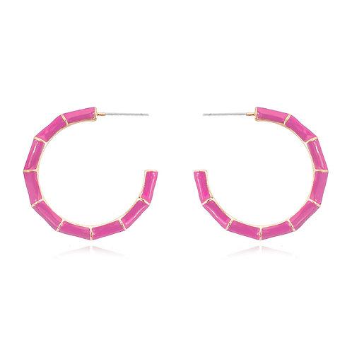 Pink Enamel Bamboo Hoops