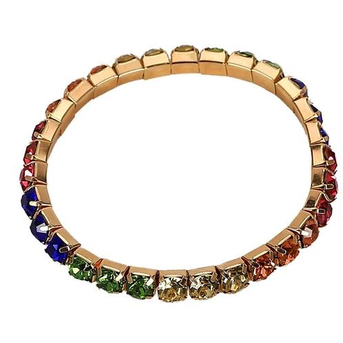 Rhinestone Cowgirl Bracelet -Rainbow