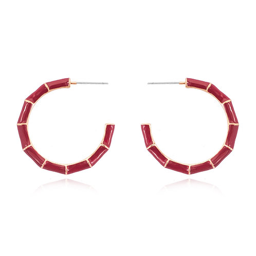 Red Enamel Bamboo Hoops