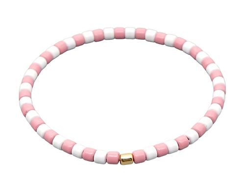 Pink & White Enamel Stretch Bracelet