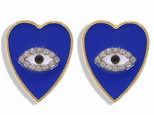 Evil Eye Blue Heart Earrings