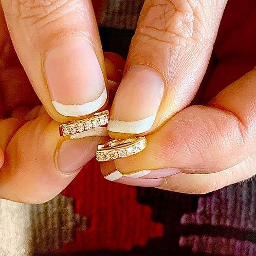 'Diamond' Zircon Micro Hoop - Gold