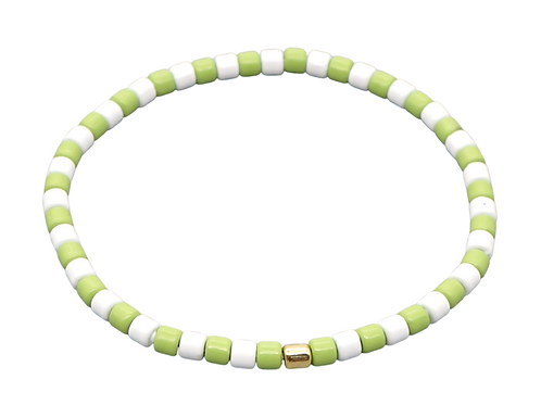 Mint & White Enamel Stretch Bracelet