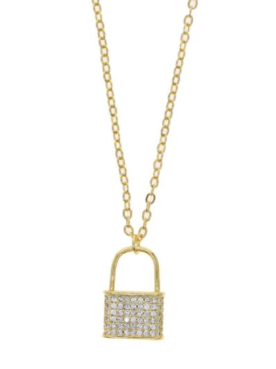 Lock Necklace - White