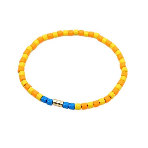 Orange & Yellow Enamel Stretch Bracelet