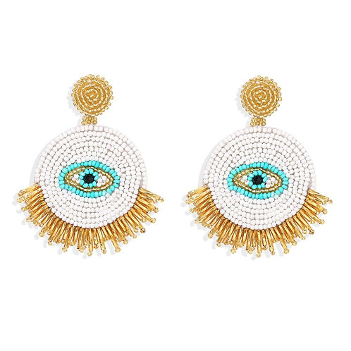 Evil Eye White Bead Earrings
