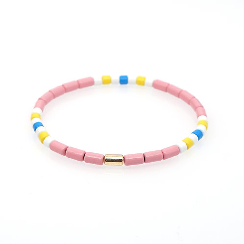 Pink with white yellow and blue Enamel Stretch Bracelet