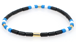 Black with blue and white Enamel Stretch Bracelet
