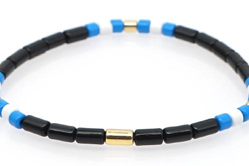Black with blue and white Enamel Stretch Bracelet