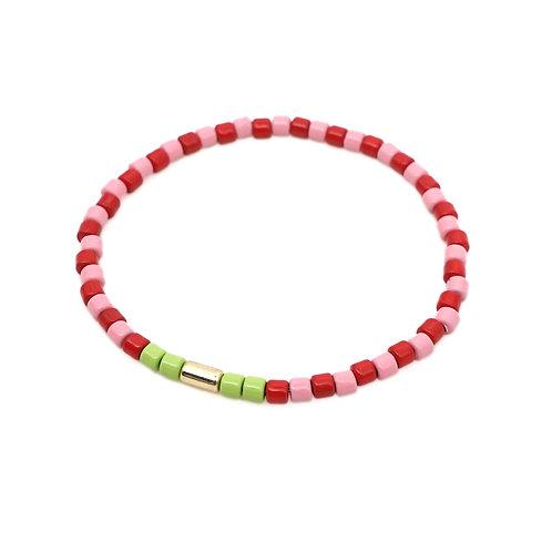 Pink & Red Enamel Stretch Bracelet