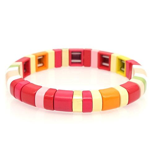 Raspberry Enamel Stretch Bracelet