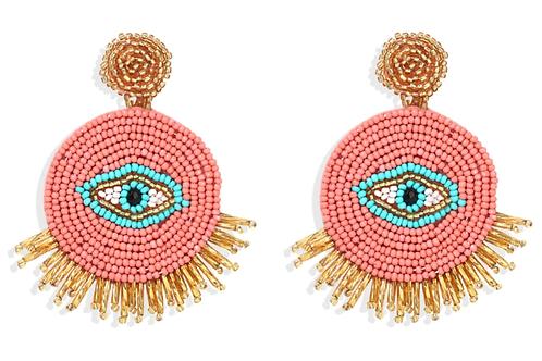 Evil Eye Pink Bead Earrings