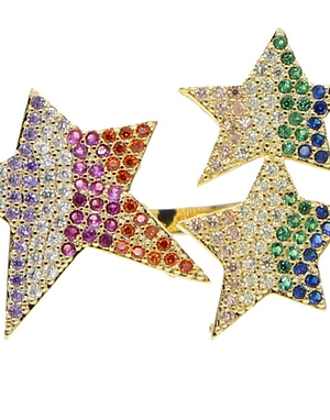 Rainbow star cocktail ring