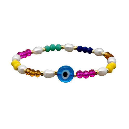 Colourful Evil Eye Stretch Bracelet