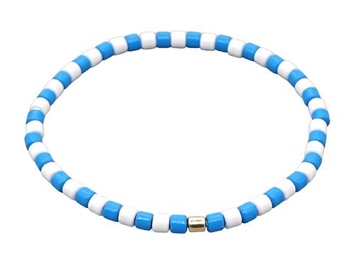 Blue & White Enamel Stretch Bracelet