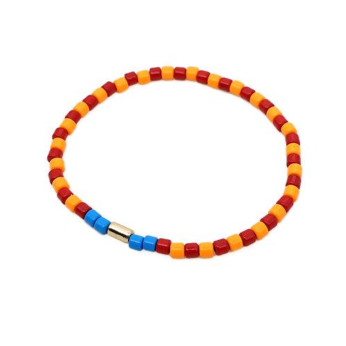 Orange & Red Enamel Stretch Bracelet
