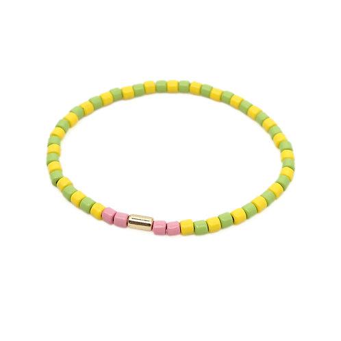 Lime & Yellow Enamel Stretch Bracelet