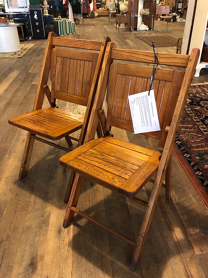 SOLD - Set Six Folding Oak Chairs