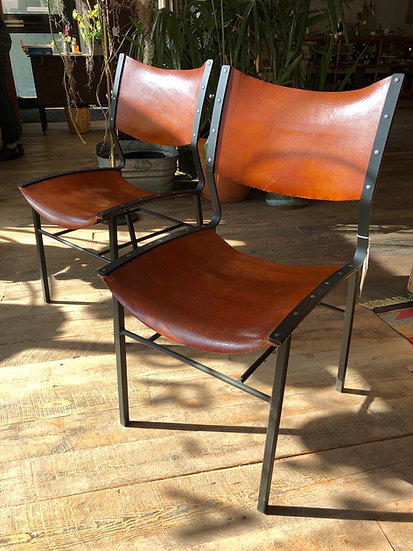 SOLD - Pair Designer Leather Chairs