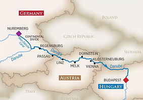 map of legendary danube river cruise route