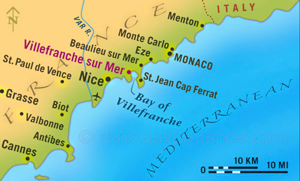 map of river cruise through southern france