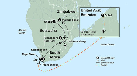 map of south africa river cruise