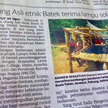 Orang Asli etnik Batek terima lampu solar percuma - Utusan