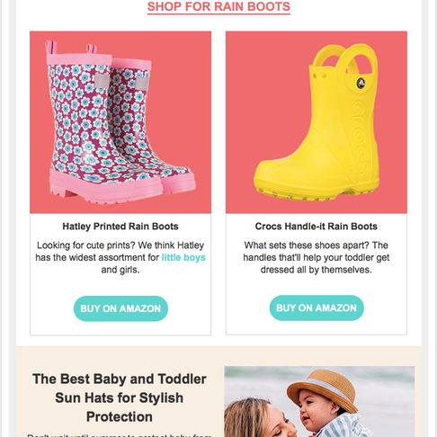 E-commerce Targeted Seasonal Email. This email is sent to The Bump users which aligns with Spring time and includes shop-able items related to the season. I art directed the design of the email using the resources available. I siloed the products and sourced the images.