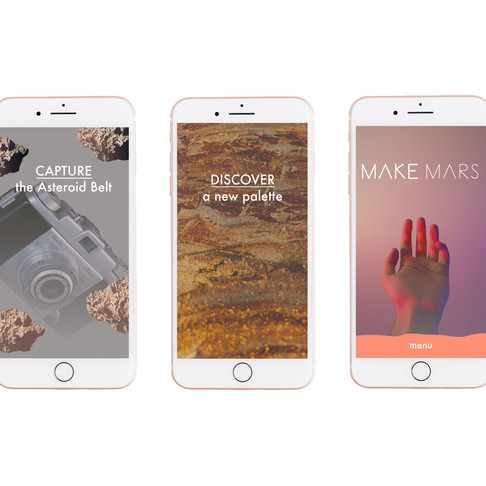 Project: Create a company inspired by Mars. Make Mars is an artist residency which selects artists to journey to space and create art on Mars. The Make Mars app is the artist's guide to the residency pre-journey and during their time on Mars. I concepeted the idea and completed the design of the screens.