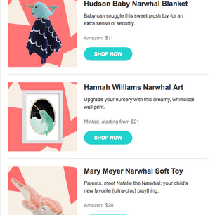 E-commerce Email. This email is sent to The Bump users where they can shop recommended products. I guided the design of the email using the resources available. I siloed the product  images and designed the backgrounds for the products.
