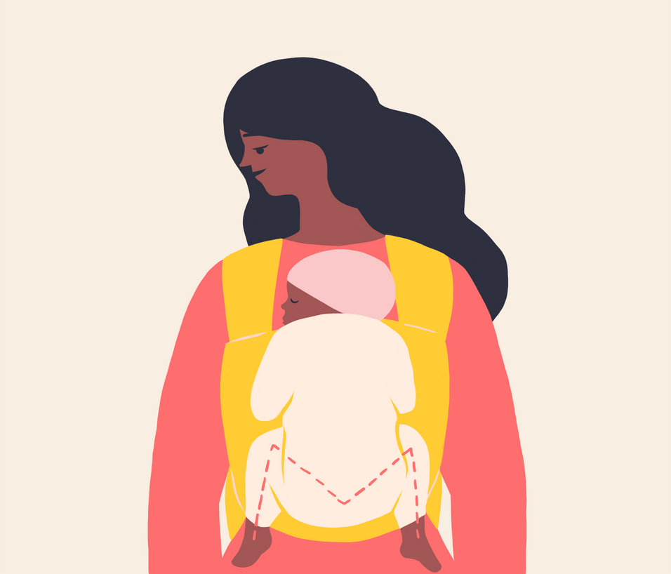 Preventing Baby Hip Dysplasia. Illustration shows parents the correct way to wear baby. I sourced the illustrator, Naomi Wilkinson. I guided and art directed throughout the duration of the project. This is featured on The Bump app, web and social.