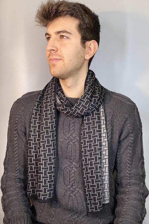 Sciarpa Uomo Double-face Misto Lana grigio vista indossato