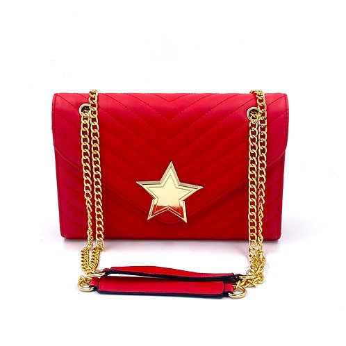 Borsa in similpelle Stella Rossa con catena dorata vista frontale