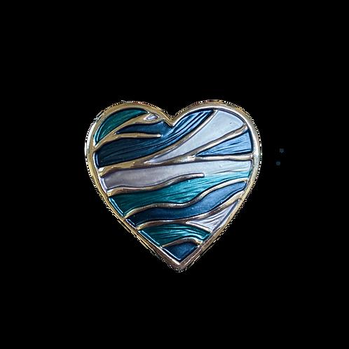 Spilla cuore blu