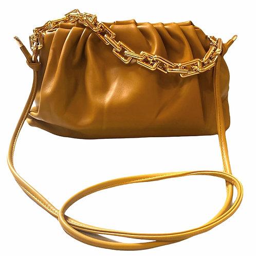 Pochette in similpelle Sissy Senape Scuro con catena dorata e tracolla vista frontale