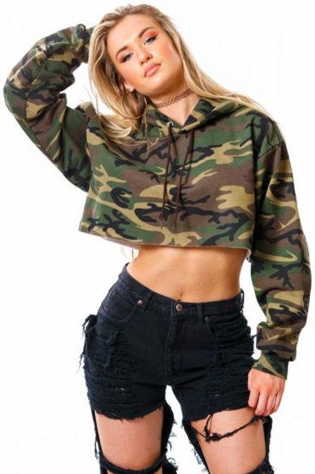 Army Crop Hoodie