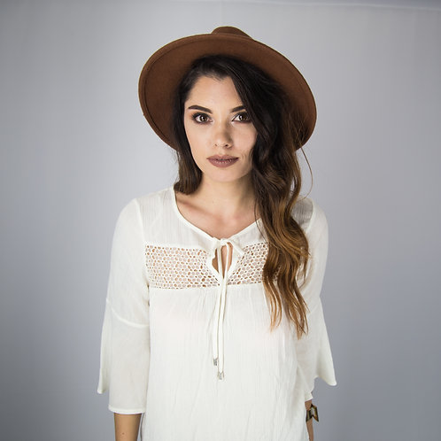 Crochet Peasant Ivory Top