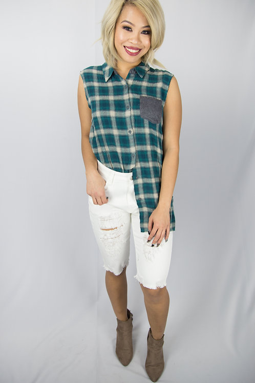 Sleeveless Plaid Button Up