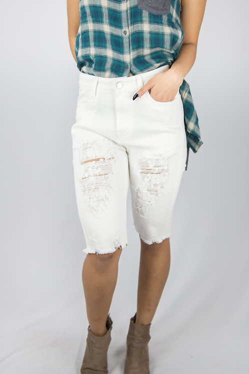 Boyfriend Distressed Shorts (White)