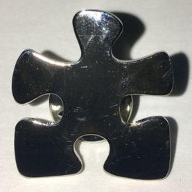 Silver Puzzle Piece Pin