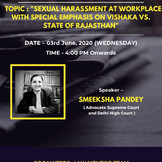 "Free Webinar on ""Sexual Harassment at Workplace with emphasis to Vishakha Guidelines"": [3 June]"