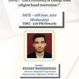 "Free Webinar on ""Can a University make Religion Based Reservation?"" [June 10th, 2020]: Register Soon"