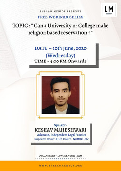 "Topic: "" Can a University/ college make religion based reservation?"""