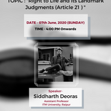 "Free Webinar on ""Right to Life and its Landmark Judgments (Article 21)"" [7th JUNE, 2020]"