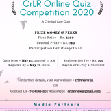 CrLR Online Quiz Competition 2020: ' Criminal Law Quiz'