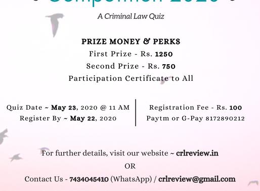 CrLR Online Quiz Competition 2020: ' Criminal Law Quiz'