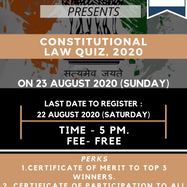 LEGAL EDUCATION EXPERTS PRESENTS CONSTITUTIONAL LAW QUIZ: APPLY BY AUG 22: No Charges