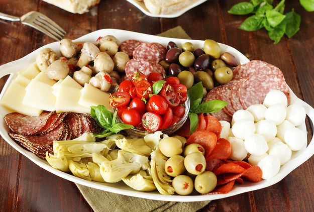 Antipasto Platter: Cured Meats, Cheeses, Pickled Vegetables and Fresh Tomatos
